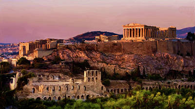 Painting - Acropolis At Twilight by Troy Caperton