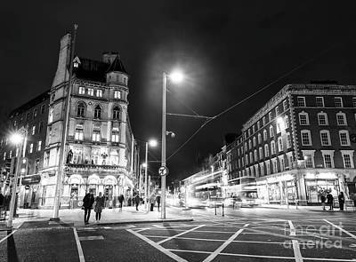 Photograph - Across O'connell Street At Night Dublin by John Rizzuto