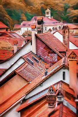 Abstract Skyline Rights Managed Images - Across the Red Rooftops of Bern Switzerland  Royalty-Free Image by Carol Japp