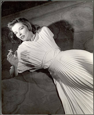 Photograph - Actress Katharine Hepburn In Pleated by Alfred Eisenstaedt
