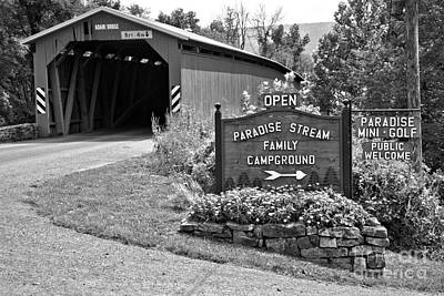 Photograph - Adair Covered Bridge Black And White by Adam Jewell