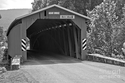 Photograph - Adair Covered Bridge Closeup Black And White by Adam Jewell