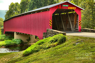 Photograph - Adair Covered Bridge Over Sherman Creek by Adam Jewell