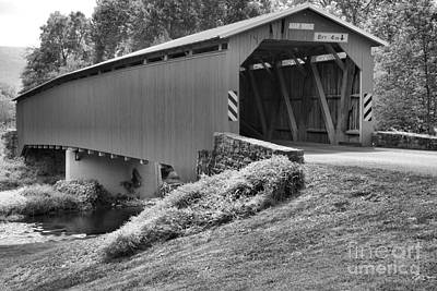Photograph - Adair Covered Bridge Over Sherman Creek Black And White by Adam Jewell