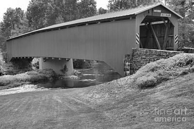 Photograph - Adairs Covered Bridge Black And White by Adam Jewell