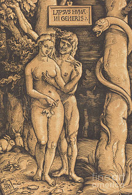Drawing - Adam And Eve, 1511 Woodcut by Hans Baldung Grien