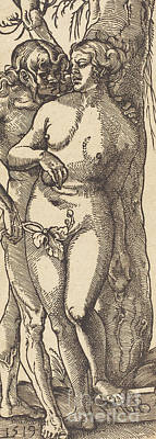 Drawing - Adam And Eve, 1519 By Grien by Hans Baldung Grien