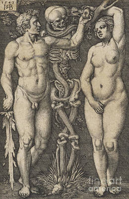 Drawing - Adam And Eve, 1543 Copperplate by Hans Sebald Beham