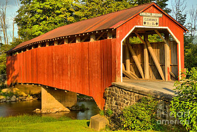 Photograph - Adams Grove Road Covered Bridge by Adam Jewell