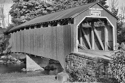 Photograph - Adams Grove Road Covered Bridge Black And White by Adam Jewell
