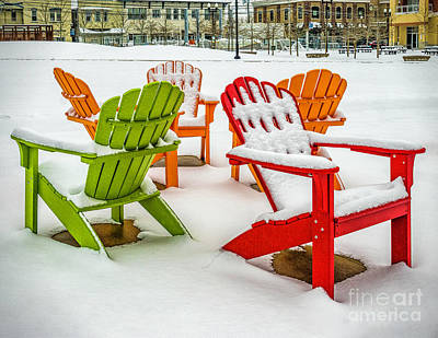 Photograph - Adirondack Chairs In The Snow by Nick Zelinsky