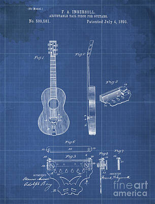 Musicians Drawings Rights Managed Images - ADJUSTABLE TAIL PIECE FOR GUITARS Patent Year 1893 Royalty-Free Image by Drawspots Illustrations