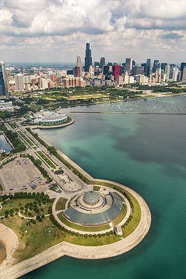 Adler Wall Art - Photograph - Adler Planetarium, Shedd, And Chicago Skyline by Adam Romanowicz