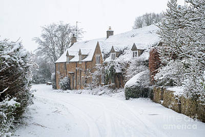 Photograph - Adlestrop Village In The Winter Snow by Tim Gainey