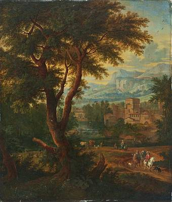 Vintage Diner Cars Royalty Free Images - Adriaen Fransz Boudewijns  Flanders 1644 1719  Landscape with figures by a river and a small town  Royalty-Free Image by Celestial Images
