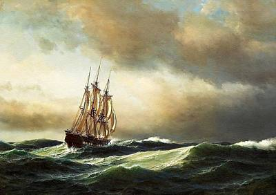 World Forgotten - Adriatic Seascape Scene - After the Style Manner And Painting By Frits Sigfred  George Melbye L B  by Gert J Rheeders