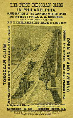 Mixed Media - Advertisement For The First Toboggan Slide In Philadelphia by A H Seaverns