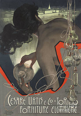 Painting - Advertising Poster Produced For The Italian Lighting Supply Firm Cesare Urtis And Co Of Turin by Adolfo Hohenstein