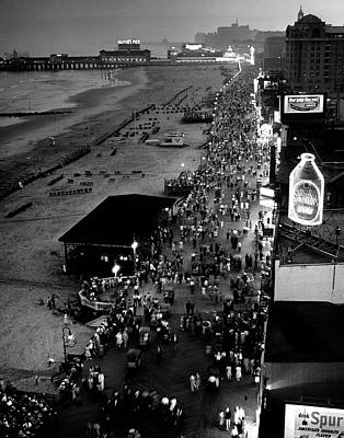Photograph - Aerial At Dusk Of Beach, Boardwalk & by Alfred Eisenstaedt