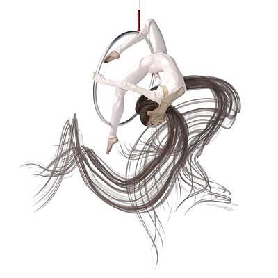 Surrealism Digital Art - Aerial Hoop Dancing Hanging in the Balance by Betsy Knapp