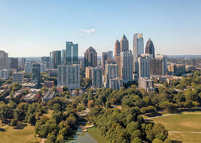 Photograph - Aerial Image Of Atlanta Skyline From Piedmont Park. by Peter Ciro