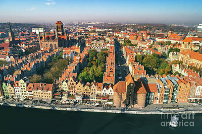 Photograph - Aerial Landscape Of Old Town In Gdansk, Poland. by Michal Bednarek