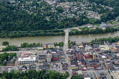 Photograph - Aerial Of Downtown Morgantown West Virginia With Bridge To Westover by Dan Friend