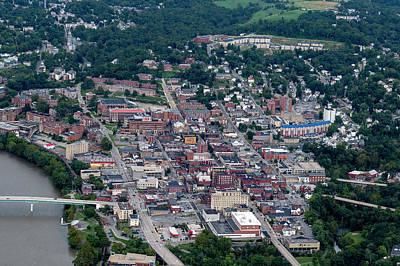 Photograph - Aerial Of Morgantown West Virginia Showing Bridge by Dan Friend