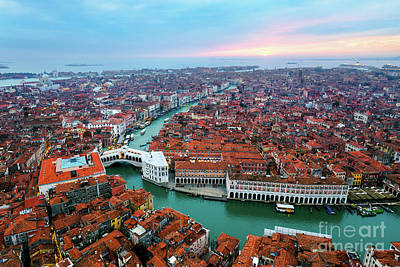 Photograph - Aerial Of Rialto Bridge At Sunset, Venice by Matteo Colombo