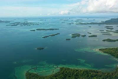 Topography Wall Art - Photograph - Aerial Of The Marovo Lagoon, Solomon by Michael Runkel / Robertharding