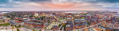 Photograph - Aerial Panorama Of Downtown Portland, Maine by Mihai Andritoiu