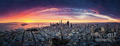 Photograph - Aerial Panoramic View of San Francisco Skyline at Sunrise by Heyengel