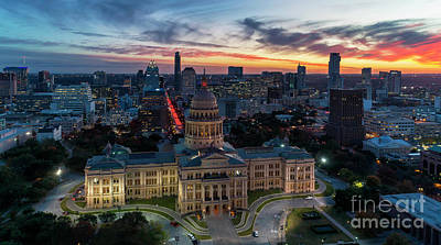 Photograph - Aerial skyline view with golden sunset and dramatic sky over the by Austin Welcome Center