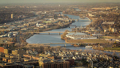 Photograph - Aerial View - Minneapolis Bridges by Patti Deters