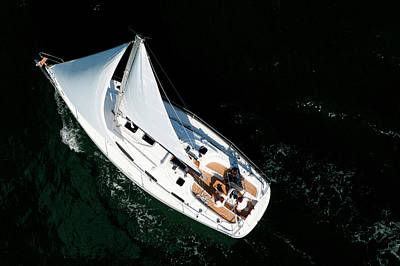 Photograph - Aerial View Of A Sailing Yacht Cruising by Christophe Launay