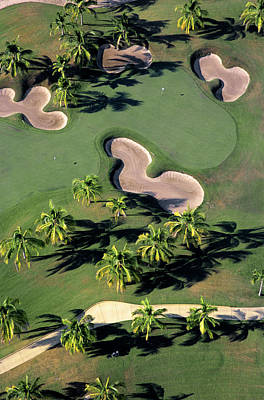 Photograph - Aerial View Of Back-to-back Greens On by Mark D Callanan