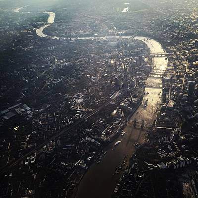 Aerial View Of Cityscape With Thames Art Print by Caspar Schlickum / Eyeem