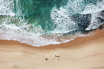 Photograph - Aerial View Of Fishermen On Beach, De by Richard Du Toit