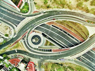 Aerial View Of Freeways In Mexico Art Print by Orbon Alija
