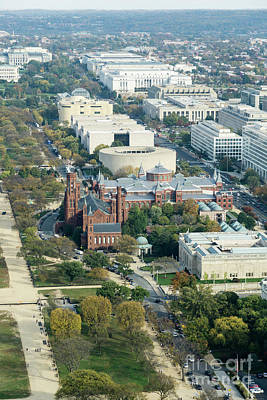 Photograph - Aerial View Of Museums On The South Side Of The National Mall In by William Kuta