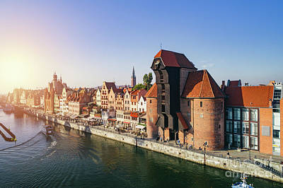 Photograph - Aerial View Of Old Town And Crane In Gdansk, Poland. by Michal Bednarek