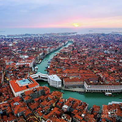 Photograph - Aerial View Of Rialto Bridge At Sunset, Venice by Matteo Colombo