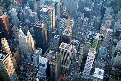 Skyscraper Photograph - Aerial View Of Skyscrapers In New York by Jupiterimages