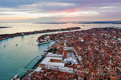 Photograph - Aerial View Of Sunset In Venice, Veneto, Italy by Matteo Colombo