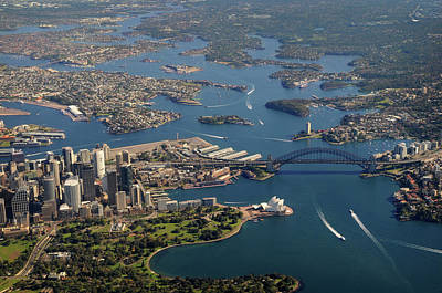 Photograph - Aerial View Of Sydney Harbour Bridge by Lighthousebay