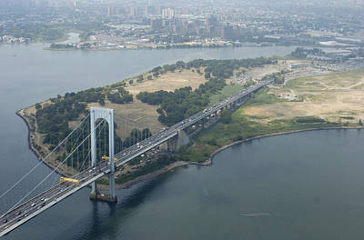 The Bronx Photograph - Aerial View Of The Whitestone Bridge by New York Daily News Archive