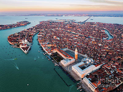 Photograph - Aerial View Of Venice At Sunset, Italy by Matteo Colombo