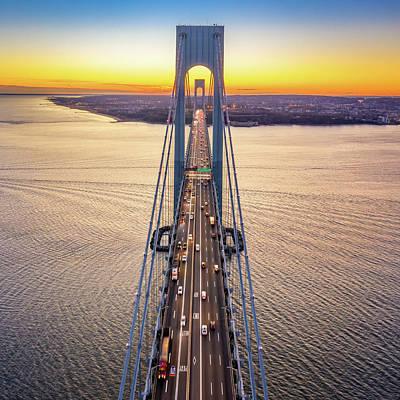 Photograph - Aerial View Of Verrazzano Narrows Bridge by Mihai Andritoiu