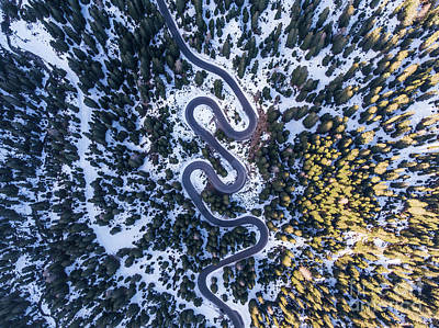 Photograph - Aerial View Of Winding Mountain Road Through Forest by Matteo Colombo