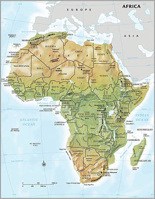 Topography Wall Art - Digital Art - Africa Continent Map With Relief by Globe Turner, Llc